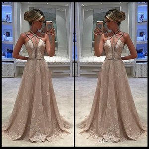 Wholesale Lace Prom Dresses vestidos de fiesta Halter A Line Sleeveless Crystal Beaded Lace Sexy Sweep Train Beautiful Hand Made Evening Party Gowns