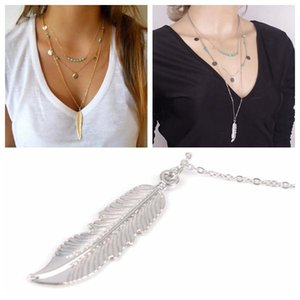 Wholesale fashion charm Girl classic necklaces Women s Multi Layered Necklace with Feather Round Sequins Turquoise Pendant Gold Silver to choose