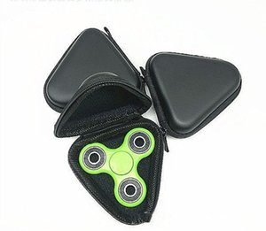 Wholesale New Type Fingertip Gyro Box For Fidget Hand Spinner Triangle Rectangle Circle Round Finger Toy Black Bag Box Carry Case DHL shipping