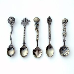 Bronze Carved Dessert Ladle Retro Dining Bar Vintage Royal Style Coffee Spoon Flatware For Kitchen Accessories 3 2lc C R