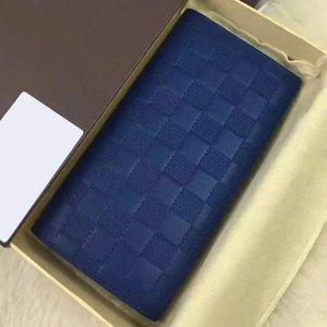 Wholesale cowhide zippy wallet High quality Fashion designer clutch famous brand clutch water ripple wallet with box dust bag