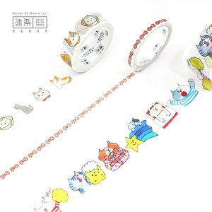 Wholesale DIY Japanese Paper Decorative Adhesive Tape Cartoon day with cats Washi Tape Masking Tape Stickers