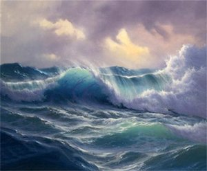 Wholesale Framed Modern Canvas Pure Hand Painted Sea wave Wall Decor art oil painting Quality canvas Multi sizes r07