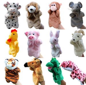 Wholesale Children Zoo Plush Toy Animal Hand Glove Puppets Cartoon Story Learning Kid Christmas party favor gift stage performance props drop shipping
