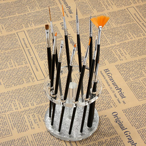 Wholesale- Nail Art 12 Holes Penholder Acrylic Gel Nail Brush Pen Holder Heart Gold Rest Stand Display Brushes