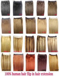 "ZZHAIR 16""-32"" 100% Brazilian Remy Human hair Halo Hair Flips in on Human Hair Extension 1pcs set Non-Clips 80g-200g on Sale"