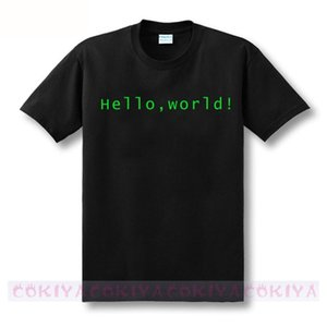 Wholesale cool design print Programmer computer T shirt hello world linux geek male short sleeve men s shirt male basic top tee