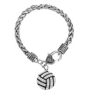 10Pcs lot Enamel VOLLEYBALL Crystal DIY Accessory Rhodium Plated Charms Thick Link Chain Lobster Pendant Bracelets