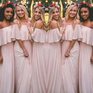 Latest Blush Pink Bohemian-Style Bridesmaid Dresses Sexy Ruched Off Shoulder Chiffon Long Prom Dresses Cheap Pretty Party Dress For Weddings