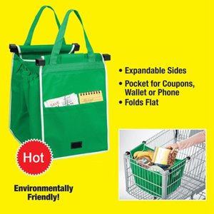 Wholesale Grab bag clip to cart shopping bag Foldable Tote Eco friendly Reusable Large Trolley Supermarket Large Capacity Bags LC531