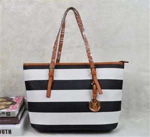 Wholesale Women casual rivet stripe Handbags MICHEAL KALY New fashion women famous brand designer bags PU leather striped travel bag bags