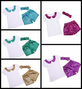 summer girls outfits Girls Mermaid clothing set T--shirt tops+Girls Mermaid shorts pant+sequin headband 3pcs suit girl's dance clothes 17-34