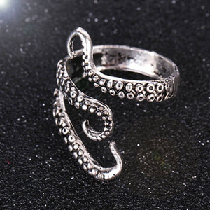 Wholesale Fashion New Octopus Rings Punk Style Alloy Finger Rings for Men Antique Silver Animal Rings Jewelry