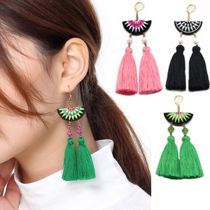 Wholesale Bohemian Embroidery Crystal Beads Drop Earrings Jewelry Women Ethnic Fish Hook Dangle Fan Long Tassel Earrings Festival Jewelry D82S