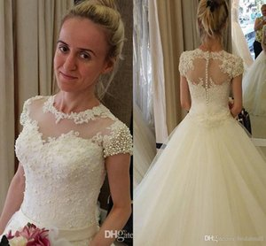 Wholesale Sheer Neck Wedding Dresses A Line White Lace with Organza Fashion Wedding Bridal Gowns Short Sleeve with Pearls Belts Sweep Train HY19