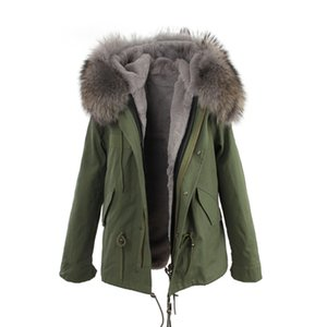 JAZZEVAR grey fur trim 100% rabbit fur lining army mini canvas parkas fur jackets winter snow coats as mrs style
