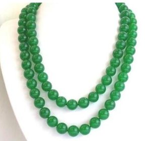 Fashion Women's Natural 8mm Green Jade Round Gemstone Beads Necklace 50'' Long