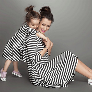Fashion mother and daughter dress stripe children clothing family matching outfits Baby Girls clothes dress mom kids Children clothing