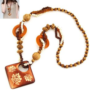 Wholesale wood vintage accessories for sale - Group buy Bohemia Folk custom Fashion Costume Accessories Jewelry Vintage Retro wood Bead Carved Maple Leaf Geometric Square Sweater Necklaces Women
