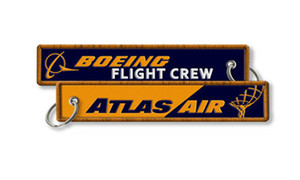 Wholesale Atlas Airlines Boeing Flight Crew Baggage Embroidered Tags Factory Price Key Chains Fabric Keychain x2 cm