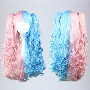 Wholesale MCOSER High Quality Synthetic Pink Blue Mixed cm Long Wave Braided Lolita Two Tone Lace Front Wig