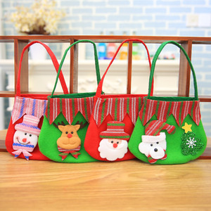 Wholesale Colored Handbag Apple Candy Gift Practical Small Bag Children Snowman Reindeer Sack Christmas Tree Hanging Decor qy F R