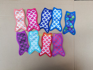 10pcs lot Free Shipping Fish design style Neoprene Holders Mermaid Ice Sleeves Freezer Holders 8.5x16cm
