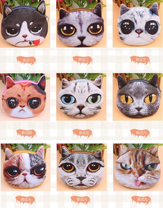 Wholesale New bag coin purses wallet ladies D printing cats dogs animal big face change fashion cute small zipper bag