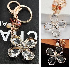 Wholesale Lucky Four Leaf Clover key chain Crystal leaf with gold silver ring keychain Creative bag key ring fashion accessories