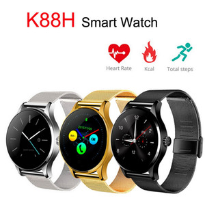 sport ip großhandel-Herzfrequenz Bluetooth Smart Watch K88H IP54 Waterpfoof Smartwatch Sport Handgelenk Stahlband D inch IPS Rundbogen Screen für Huawei