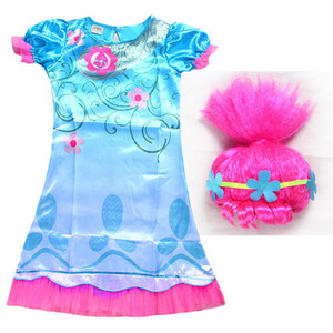 44c887575 Wholesale 2017 Trolls Cosplay Clothes Dress+Wigs Set Trolls Dress For Girls  Party Skirt Net