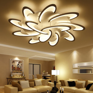 Surface Mounted Modern LED Ceiling Lights Chandeliers For Living Room Bedroom White   Black Chandeliers Acrylice Lampshade Lamps Lighting