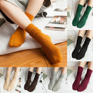 New Style Socks Autumn Winter Women Girls Solid color retro boots socks Fashion Warm Long socks Christmas Xmas Gift WX-S36