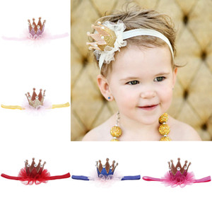 Wholesale mesh for hair resale online - HOT girls mesh crown and headbrand kids lovely hair accessories babay Tiaras knitting crown for kids gift for baby take photo