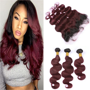Wine Red Ombre Brazilian Virgin Human Hair Wefts With Frontal Body Wave 1B 99J Burgundy Ombre Lace Frontal Closure 13x4 With Bundles