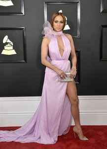 Wholesale Celebrity Dresses Jennifer Lopez Lilac Deep V-neck Slit Evening Dress 2017 red carpet Grammy Awards