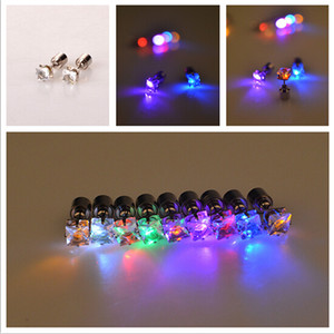 Novelty LED Flashing Light Stainless Steel Rhinestone Ear Stud Earrings Fashion Jewelry rave toys gift 9 Colors LED Earrings for Christmas