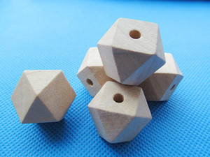 20mm Large Unfinished Faceted Natural Wood Spacer Beads Charm Finding,14 Hedron Geometricf Figure Wooden Beads,DIY Accessory