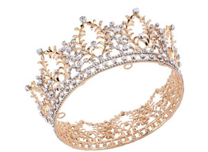 Wholesale Vintage Wedding Bridal Full Round Crown Tiara Crystal Rhinestone Headpiece Hair Accessories Gold Jewelry Headdress Party Prom Pageant Tiara