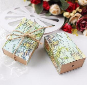 Wholesale 50Pcs Vintage Wedding Candy Box Kraft Paper World Map Gift Bag for Wedding Favors and Gifts Boxes with Burlap Twine Chic