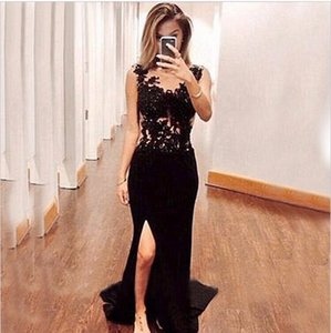 Sexy Long Black Mermaid Prom Dresses 2017 Hot Sale Appliques Lace Evening Dress For Graduation Side Slit Party Gown on Sale