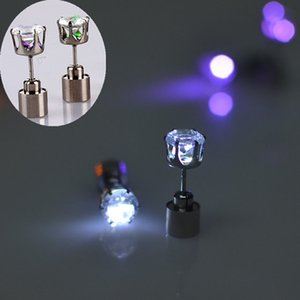 crystal led earrings ear studs with led light for pub bar party halloween christmas 9 colors red green blue pink blue yellow wholesale