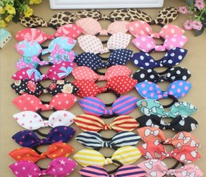 Wholesale Rabbit Ears style Elastic hair ties hair bands Bunny Bows HairBands Stripes Dots girls ponytail holder pony girl rubber hair accessories