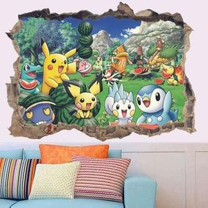 Wholesale 3D Pikachu Wall Cartoon Broken Wall Stickers For Kids Rooms Decals Mural Nursery Room Decor Poster Gift PVC compounds