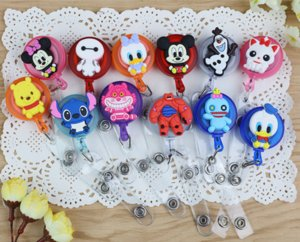 Wholesale New design cm Cartoon Silicone Retractable Reel clips for Bus Credit Card Holder Random sent