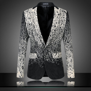 Wholesale- Mens Floral Blazers Designs Trendy Suits Club Vintage Slim Fit Flower Print Blazers Fancy Prom Dress Suits Terno Masculino