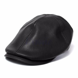 Wholesale-Mens Ivy Cap Faux Leather Bunnet Newsboy Beret Cabbie Gatsby Flat Golf Hat