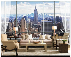 Wholesale 3D photo wallpaper custom wall murals wallpaper European-style 3D three-dimensional window New York high-rise building TV backdrop wallpaper