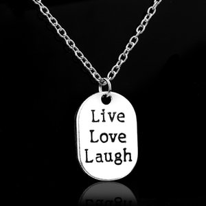 Wholesale New Best Friends Live Love Laugh Stamped Letter engraves Charm Family Jewelry Pendant Necklaces