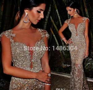 2019 Gorgeous Mermaid Prom Gowns Sparkle Silver Beads Sequins Rhinestones Long Champagne Cheap Celebrity Dresses Custom Made Abendkleider on Sale